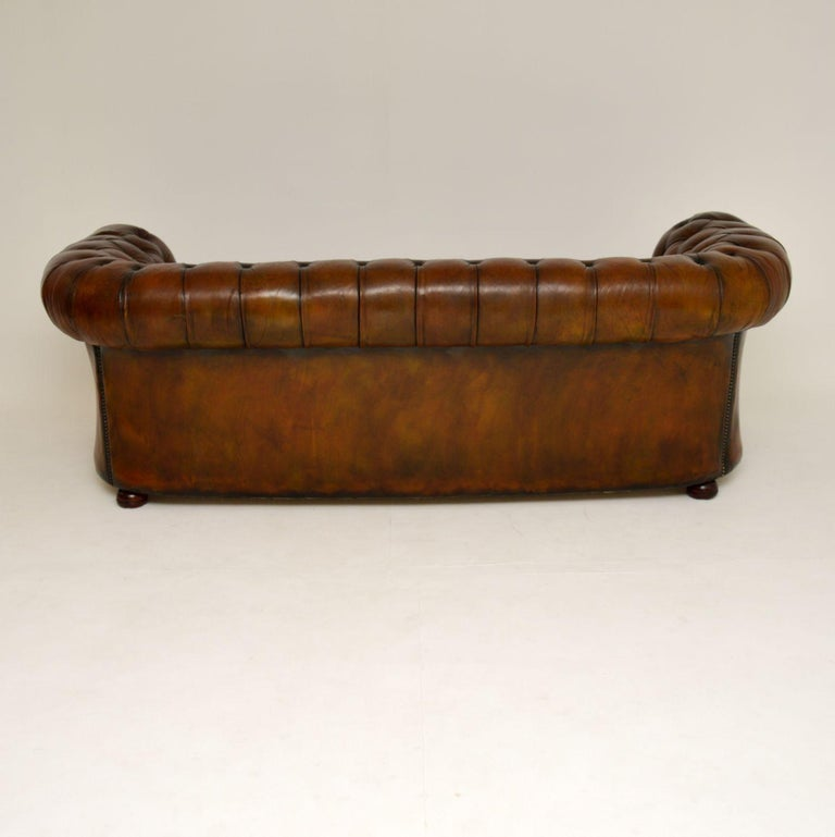Antique Deep Buttoned Leather Chesterfield Sofa For Sale 3