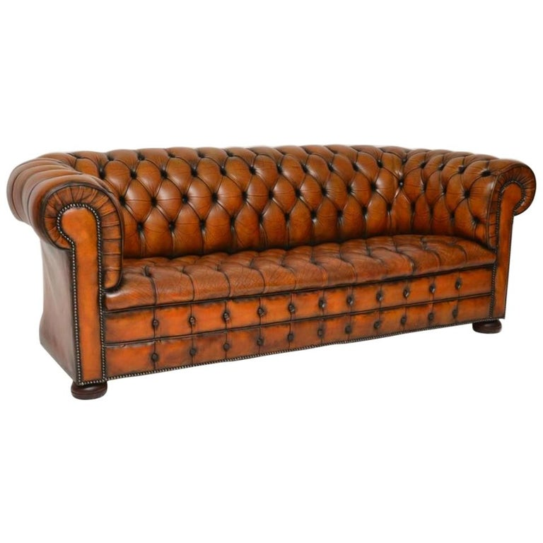 Antique Deep Buttoned Leather Chesterfield Sofa For Sale