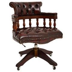 Antique Deep Buttoned Leather Swivel Captains Desk Chair