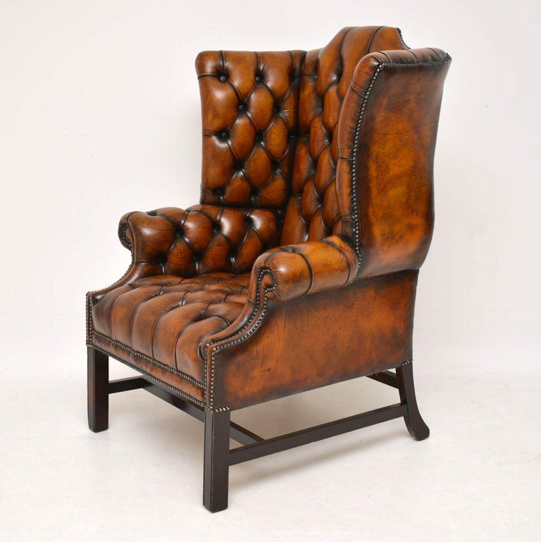 Antique Deep Buttoned Leather Wing Back Armchair For Sale ...