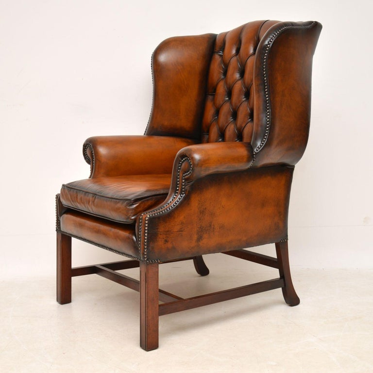 Antique Deep Buttoned Leather Wingback Armchair For Sale ...