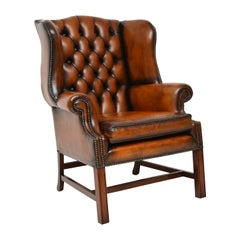 Antique Deep Buttoned Leather Wingback Armchair