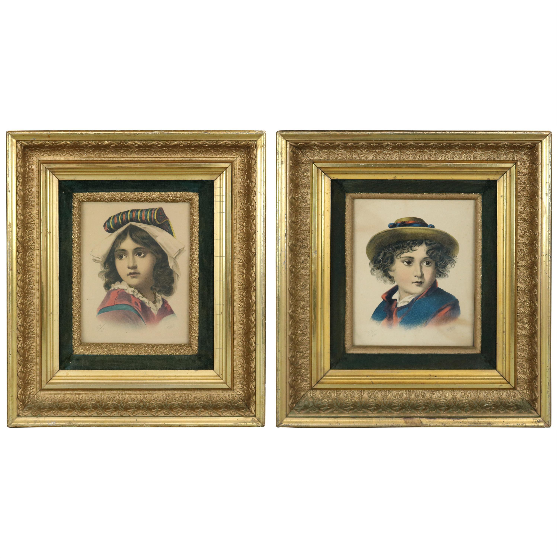 Antique Deep Set First Finish Giltwood Frames with Child Portrait Prints