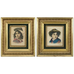 Antique Deep Set First Finish Giltwood Frames with Child Portrait Prints