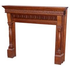 Antique Deeply Carved Oak RJ Horner School Fireplace Mantle Circa 1900
