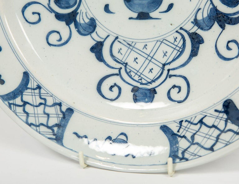 Rococo Antique Delft Blue and White Charger Made in Netherlands, circa 1800 For Sale