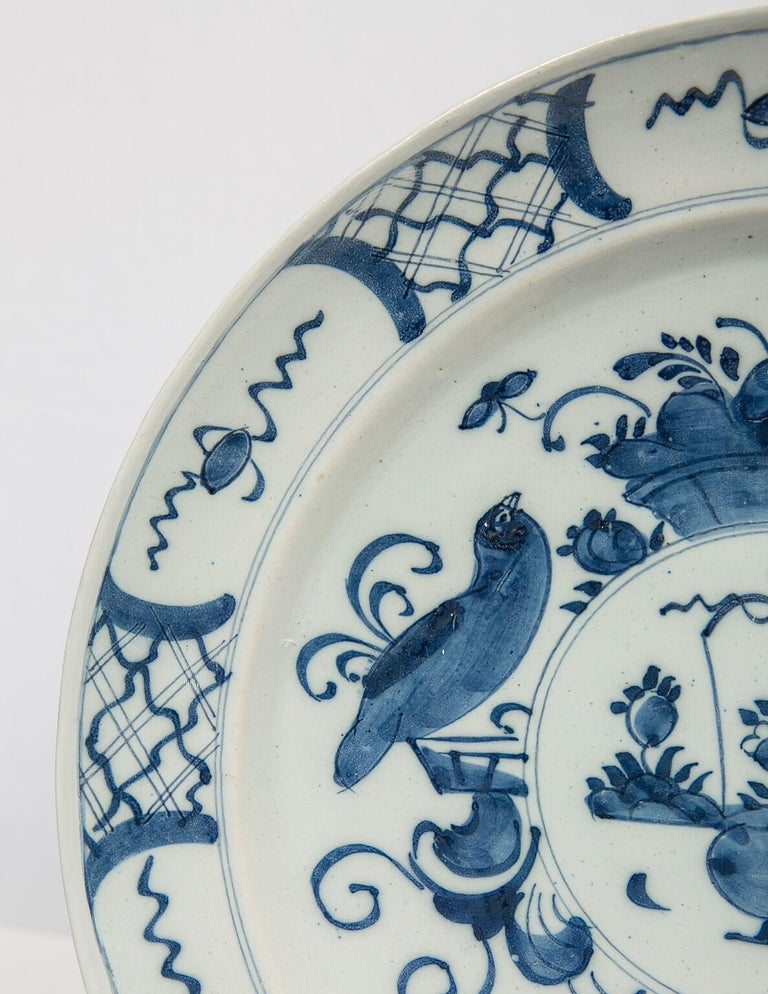 Dutch Antique Delft Blue and White Charger Made in Netherlands, circa 1800 For Sale