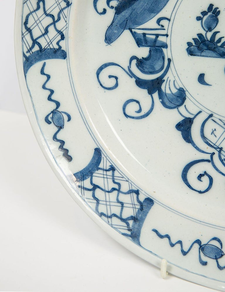 Glazed Antique Delft Blue and White Charger Made in Netherlands, circa 1800 For Sale