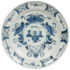 Antique Delft Blue and White Charger Made in Netherlands, circa 1800
