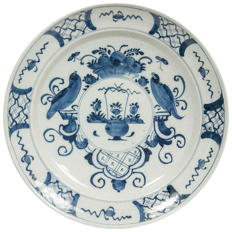 Antique Delft Blue and White Charger Made in Netherlands, circa 1800 For Sale