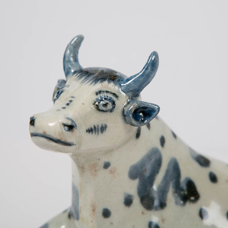 Rococo Antique Delft Blue and White Cow Made circa 1770 For Sale