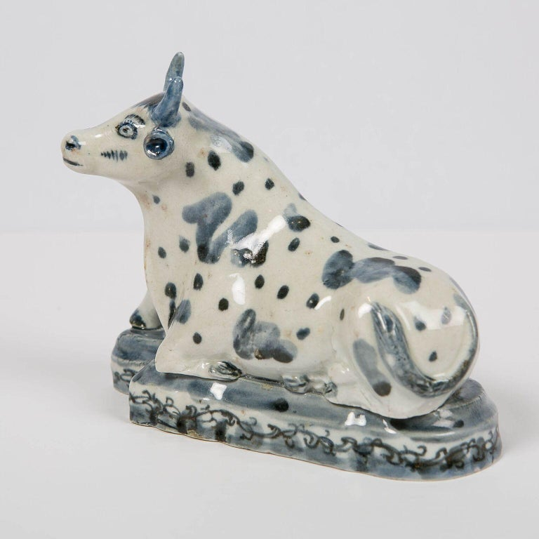 Hand-Painted Antique Delft Blue and White Cow Made circa 1770 For Sale