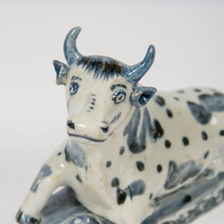 18th Century Antique Delft Blue and White Cow Made circa 1770 For Sale