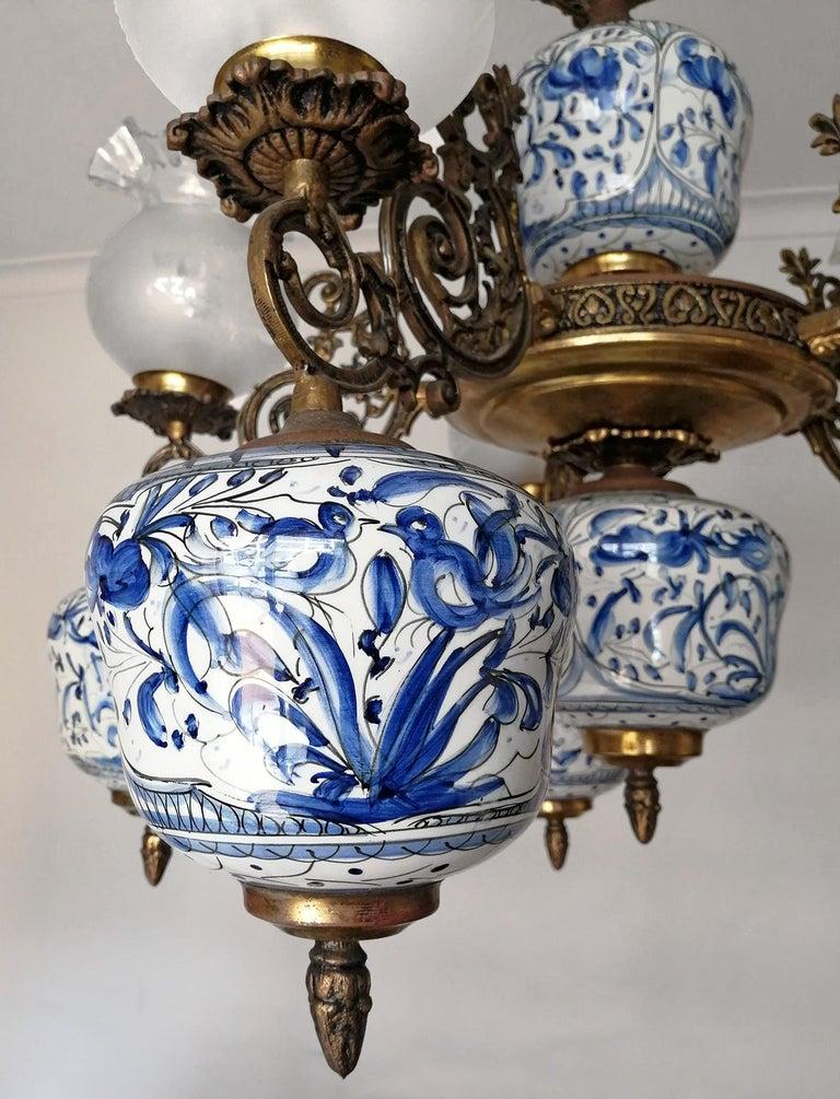 Art Deco Antique Delft Blue Oil Lamp Chandelier For Sale