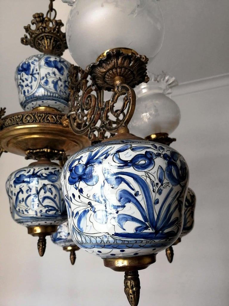 French Antique Delft Blue Oil Lamp Chandelier For Sale