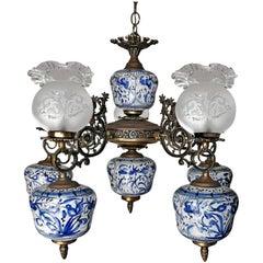 Antique Delft Blue Oil Lamp Chandelier