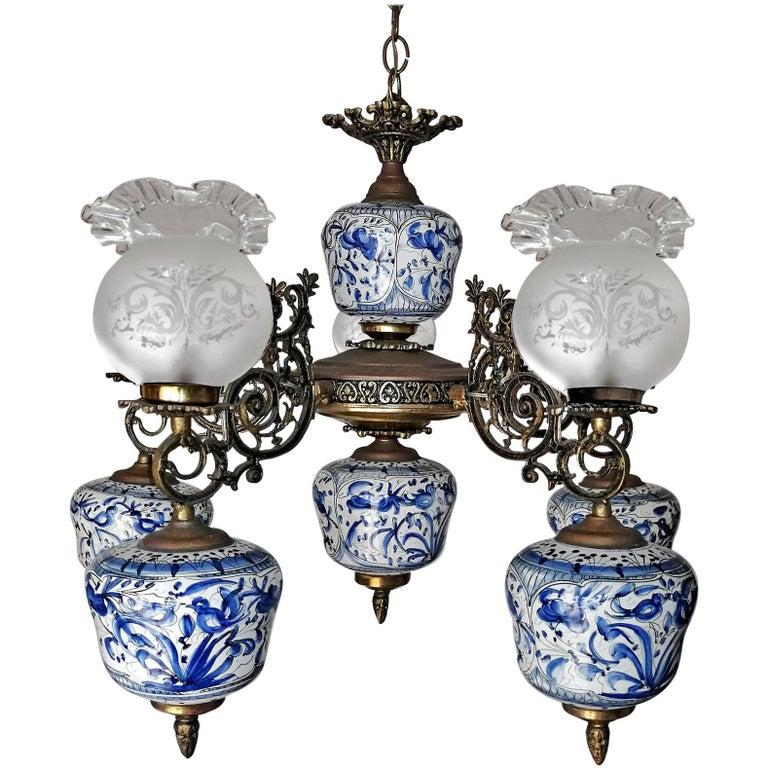 Antique Delft Blue Oil Lamp Chandelier For Sale
