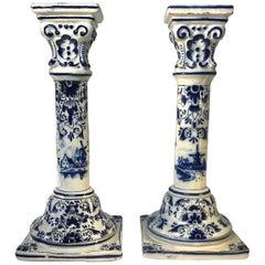 Delft Blue White Tin Glazed Pair of Tall Candlesticks Dutch Windmills, 1800s