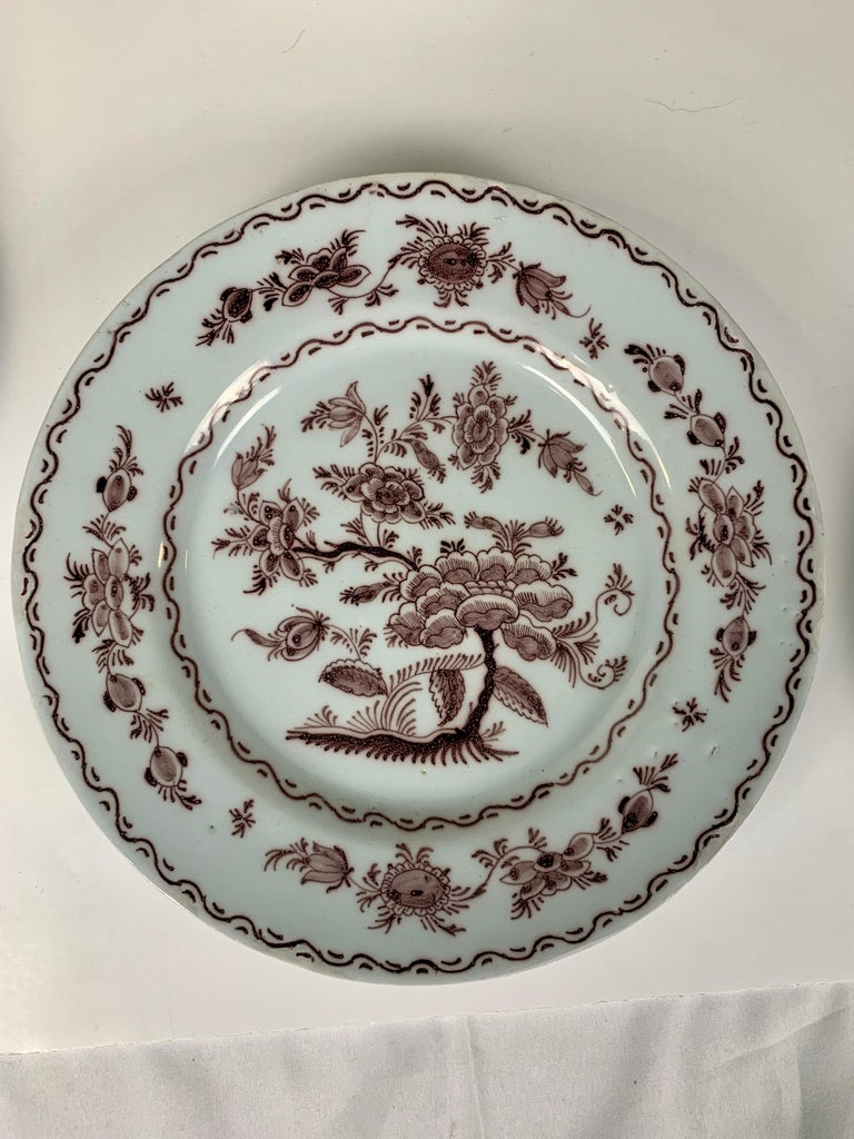 Hand-Painted Antique Delft Dishes a Set of Five 18th Century with Purple/Manganese Coloring For Sale