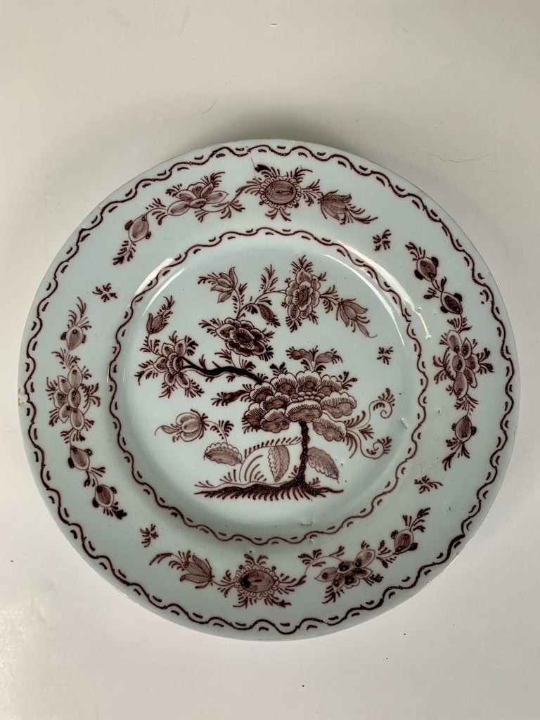 Antique Delft Dishes a Set of Five 18th Century with Purple/Manganese Coloring For Sale 1
