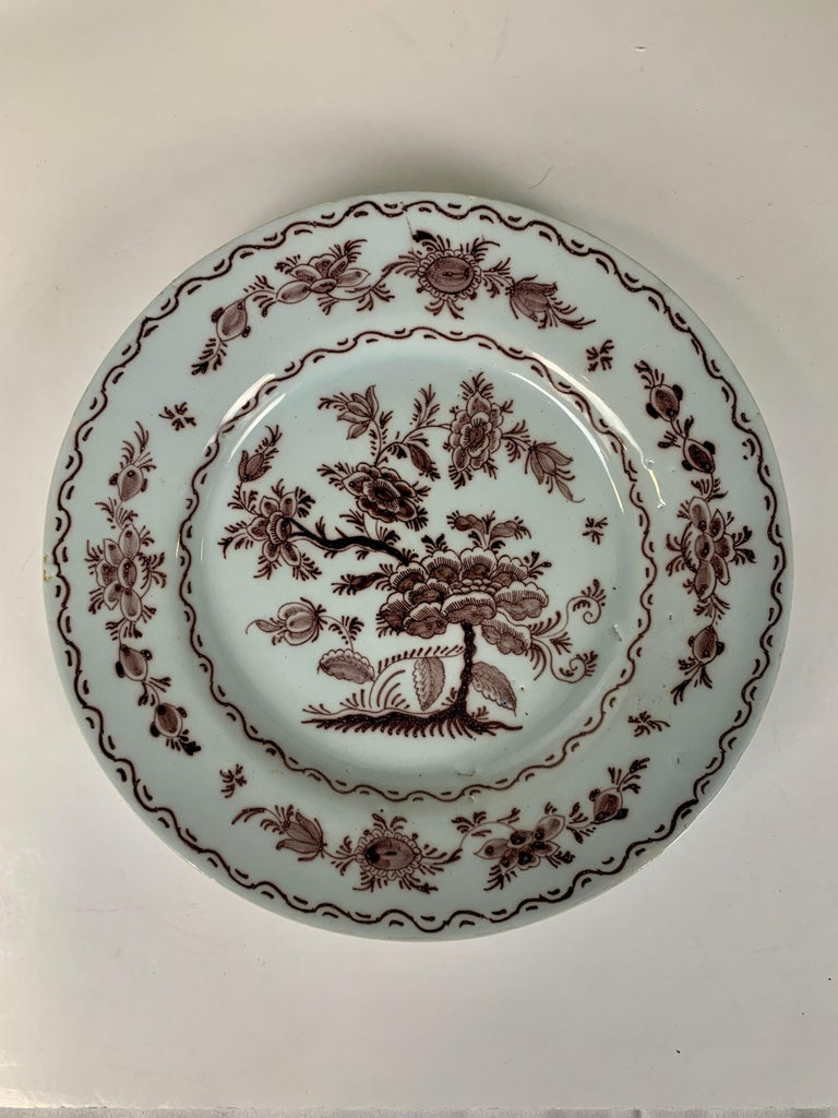 Antique Delft Dishes a Set of Five 18th Century with Purple/Manganese Coloring For Sale 2