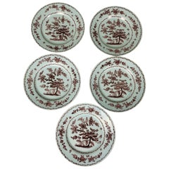 Antique Delft Dishes a Set of Five 18th Century with Purple/Manganese Coloring