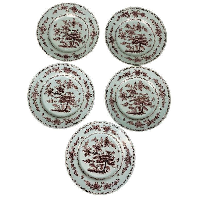 Antique Delft Dishes a Set of Five 18th Century with Purple/Manganese Coloring For Sale