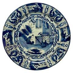 Antique Delft Tin Glaze Charger, circa 1760-1780