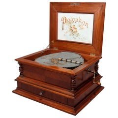 Antique Deluxe Model Walnut Marquetry Polyphon Single Comb Music Box, circa 1890