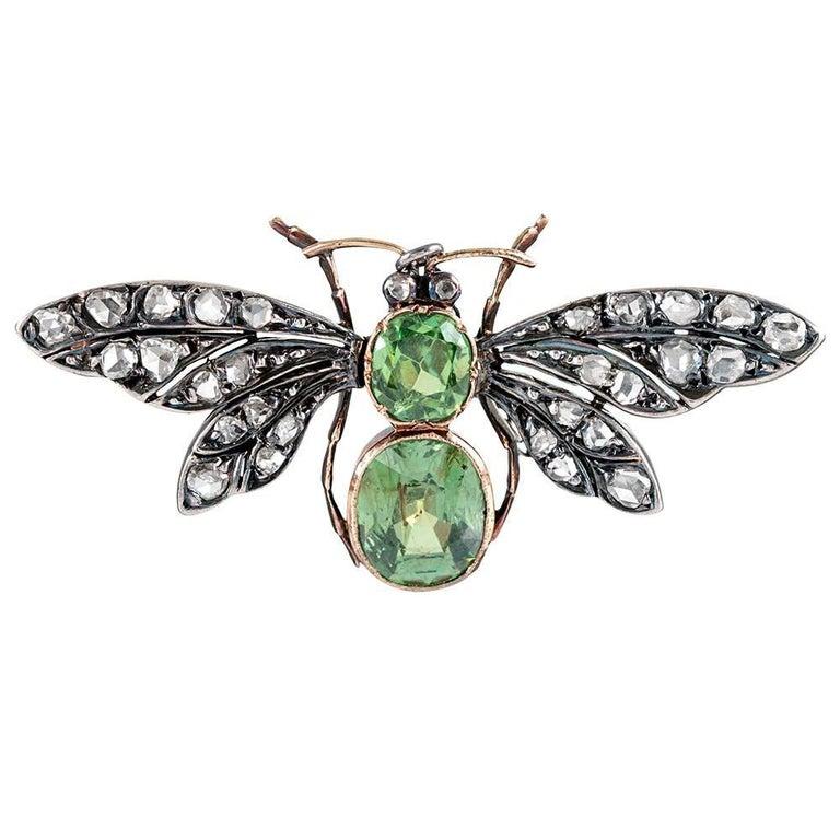 Antique Demantoid Garnet and Diamond Butterfly Brooch