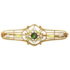 Antique Brooch / Pin, Demantoid Garnet, Pearl and Enamel, 14 Karat Yellow Gold