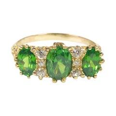 Antique Demantoid Green Garnet and Diamond Ring