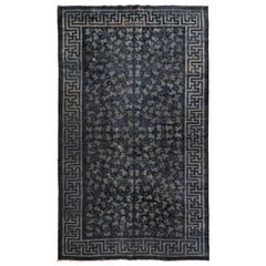 Antique Denim Blue Chinese Rug with Tone on Tone Scrolling Leaf Pattern