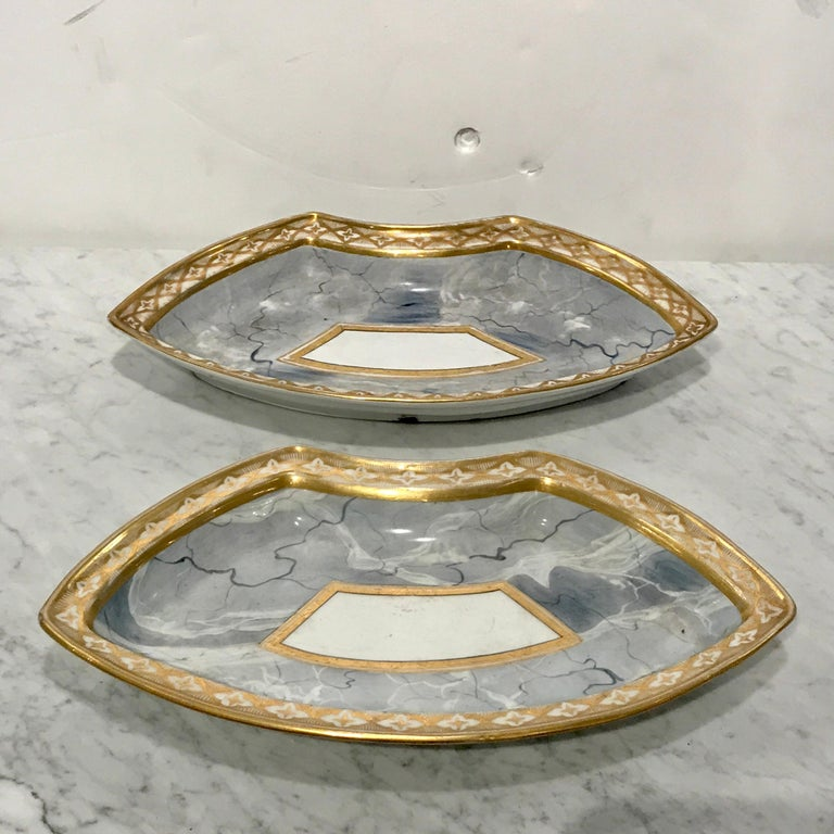 Antique Derby Marbleized Supper Set on Georgian Mahogany Tray For Sale 6