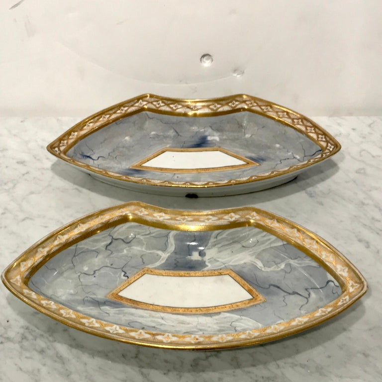 Antique Derby Marbleized Supper Set on Georgian Mahogany Tray For Sale 7