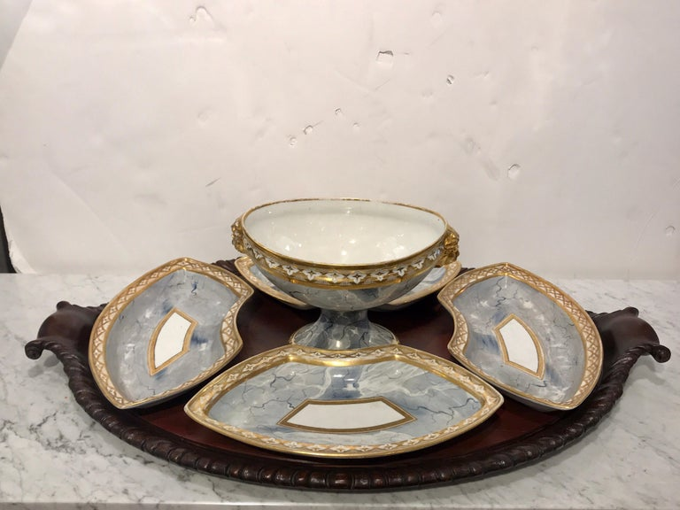 Antique derby marbleized supper set on Georgian mahogany tray consisting of four trapezoidal 4