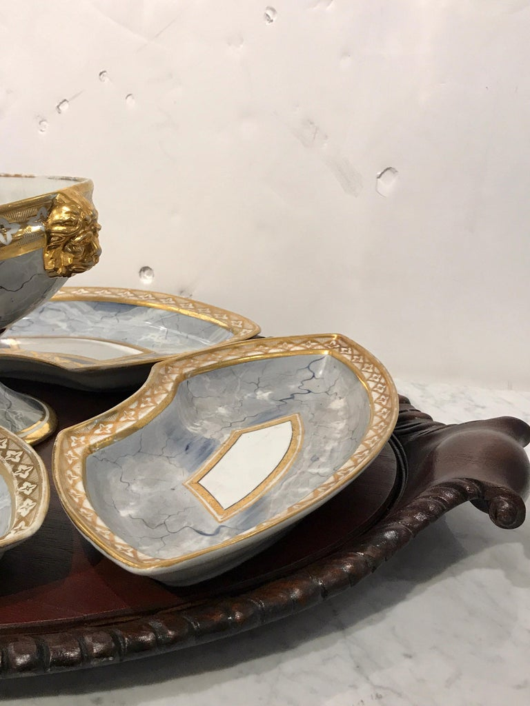 English Antique Derby Marbleized Supper Set on Georgian Mahogany Tray For Sale