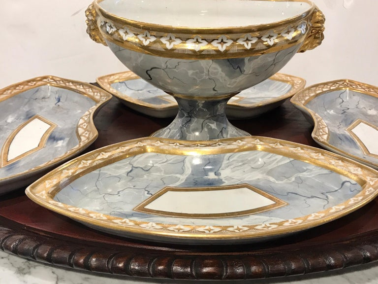 Carved Antique Derby Marbleized Supper Set on Georgian Mahogany Tray For Sale