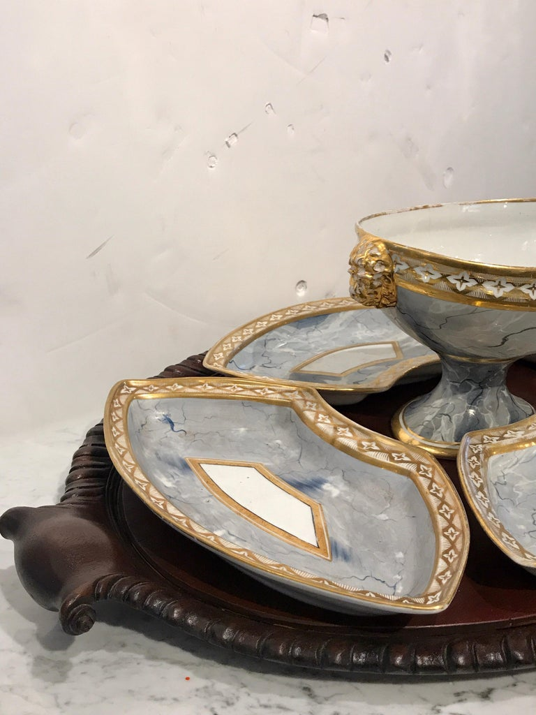 Antique Derby Marbleized Supper Set on Georgian Mahogany Tray In Good Condition For Sale In West Palm Beach, FL