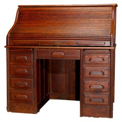 Antique Derby School Oak S-Roll Top Desk with Reeded Side Column, circa 1900