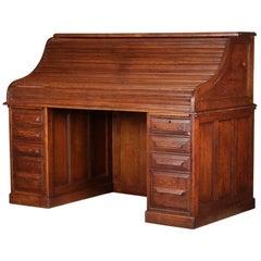 Antique Derby School Paneled Quarter Sawn Oak S-Roll Top Desk by Cutler