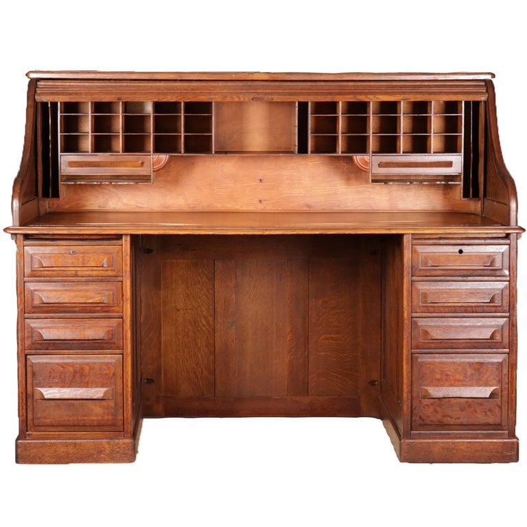 American Antique Derby School Paneled Quarter Sawn Oak S-Roll Top Desk by  Cutler For - Antique Derby School Paneled Quarter Sawn Oak S-Roll Top Desk By