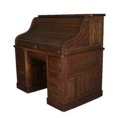 Antique Derby Style Oak Paneled Roll Top Desk by Standard, circa 1900