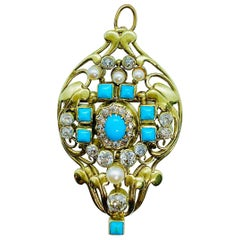 Antique Designer Frank Gardner Hale 14k Diamond Turquoise & Pearl Brooch Pendant