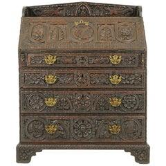 Antique Desk, Bureau, Slant Front, Carved Oak, Georgian, Scotland 1810, B1743