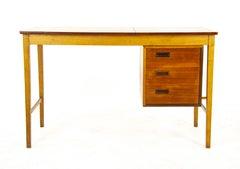 Antique Writing Desk, Mid Century Teak & Beechwood Table, Scotland 1950, B1378
