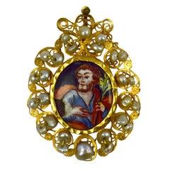 Antique Devotional Saint Joseph Yellow Gold Pearl Enamel Pendant