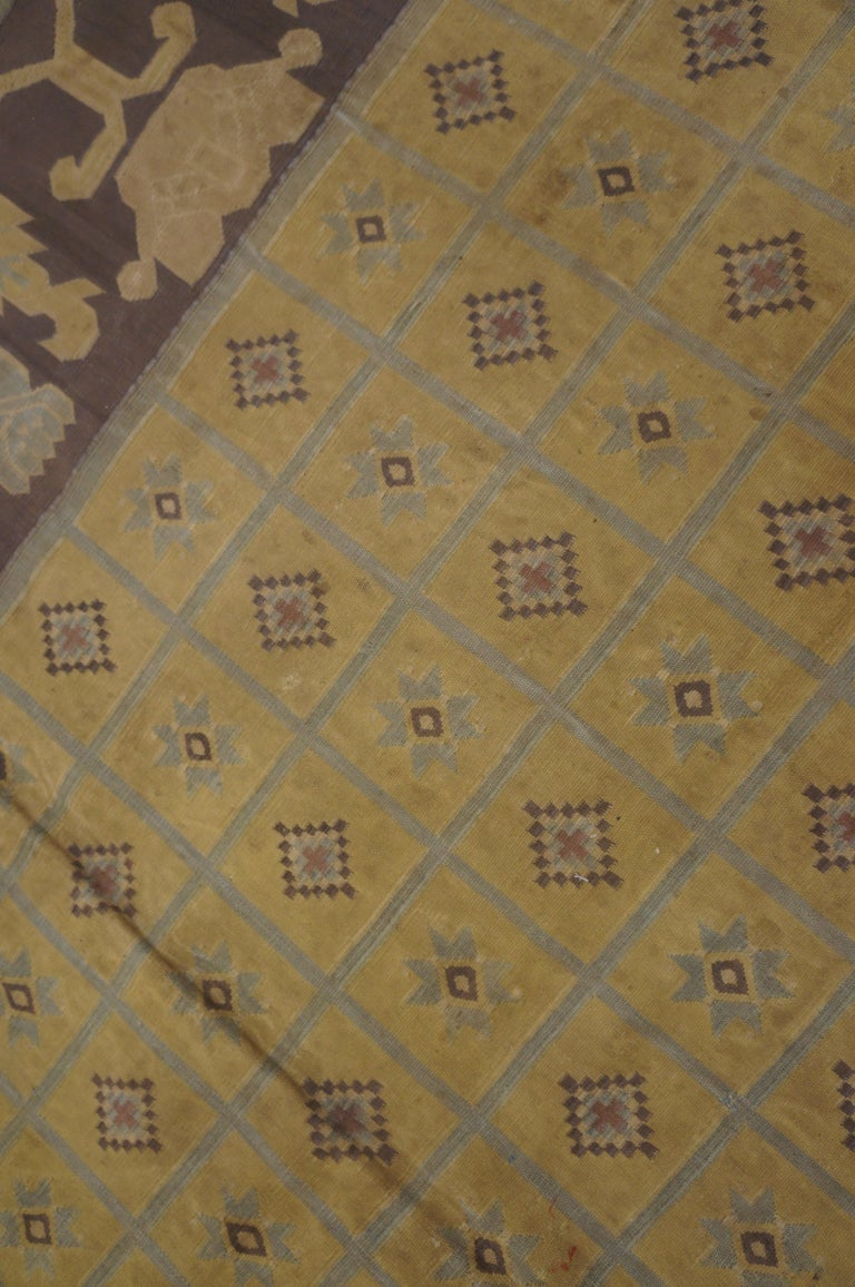 Cotton Antique Dhurrie Indian Rug For Sale
