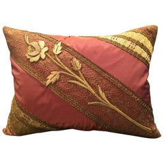 Antique Diagonal Rose on Lace Pillow by Eleganza Italiana