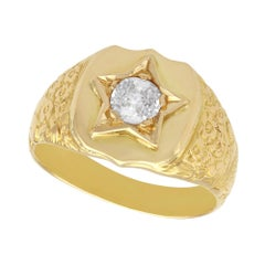 Antique Diamond 18K Yellow Gold Signet Ring, Circa 1900